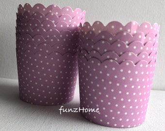 LAST *** 30 pcs Lilac Polka Dot Print Paper Muffin Cups Baking Cups,CupCake, Candy Cup, Ice cream Treat Dessert Portion Cups