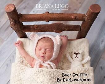 Bear Stuffie, Crochet Bear, Crochet Photo Prop, Crochet Bear Prop, Ivory Bear, Cream Bear, Crochet Stuffed Bear