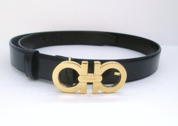 Vintage Salvatore Ferragamo Womens Navy Leather Belt Golden