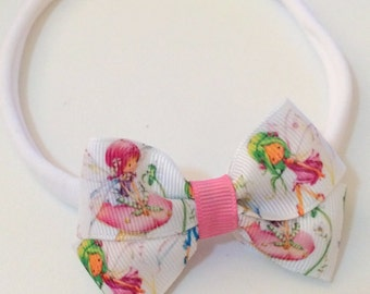 Magical Garden Fairy Bow Nylon Elastic Headband Toddler and Girls One Size Fits All