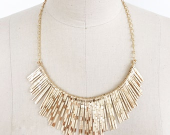 Metal fringe boho modern bib necklace with gold chain