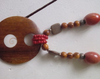 Lovely wooden and ceramic bead necklace