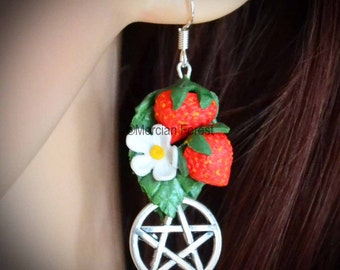 Strawberry Fields Pagan Earrings - Handmade Pagan, Wiccan Jewellery Celebrating Summer, The Solstice, Lughnasadh, Mabon, and the Harvest