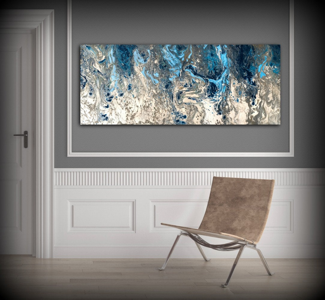 Wall Decor Prints Canvas : Large abstract painting print navy blue art