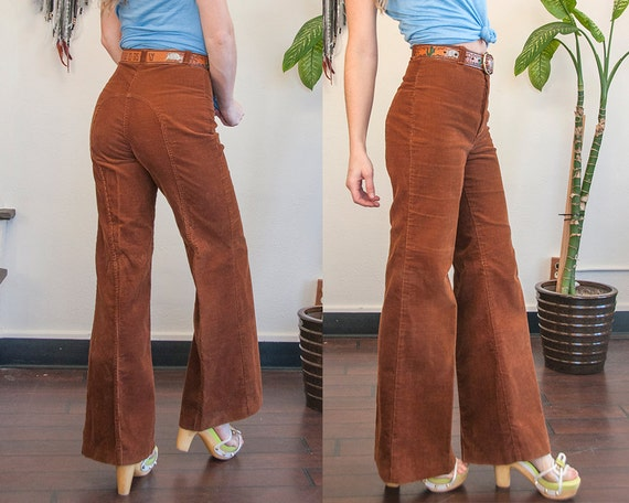 70s Dittos High Brown Corduroy Bell Bottoms Womens 1970s