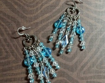 Silver Blue and Crystal Chandelier Earrings