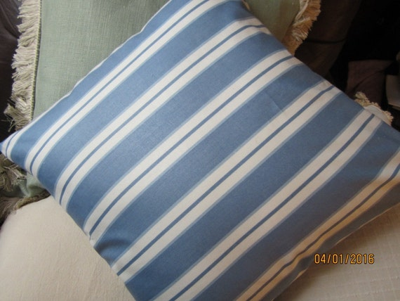 Summer beach poplin polished cotton blue and white striped throw pillow