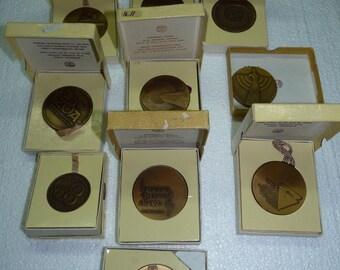 Lot of 10 various Vintage Official Israeli Bronze Medallions