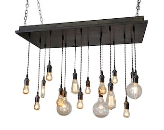 Urban Chandelier - Industrial Hanging Light, Bare Bulb Pendants