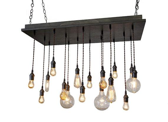 16 Pendant Chandelier Industrial Chandelier Bare Bulb