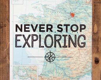 "France Map Print, Never Stop Exploring, Great Travel Gift, 8"" x 10"" Letterpress Print"