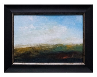 Original abstract landscape painting, acrylic art, mountains and sky, wall decor,expressive brush, RISE, 5x7