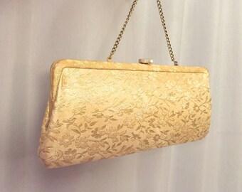 Gold Clutch Brocade Floral Handbag Vintage Purse Chain handle Strap Evening Bag