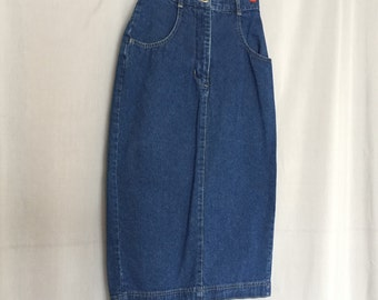 Denim Pencil Skirt Wrap Slit Back Vintage Blue Jean Long Skirt 100% Cotton Women's XS or Small