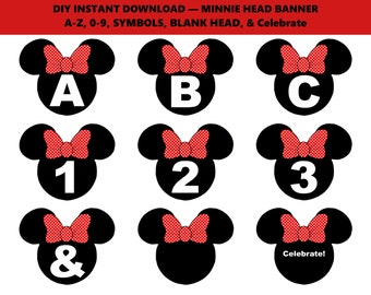 Red Minnie Mouse Banner, Printable Minnie Banner, Minnie Mouse Decoration, Red Black Minnie Banner, Minnie Party Banner - Printables 4 Less