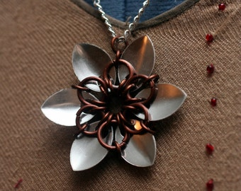 Bronze and Silver Scalemaille Flower Necklace