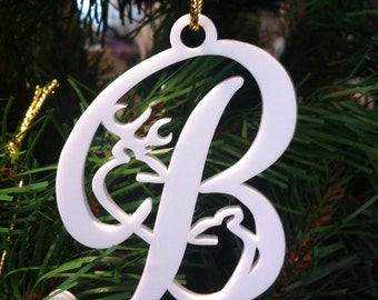 Buck and Doe Deer Letter Christmas ornament
