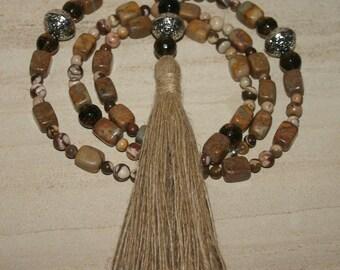 108 BEAD COUNTING MALA....Meditation Prayer Mala Tassel Necklace
