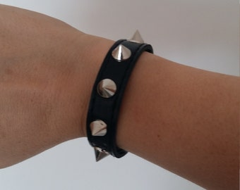 GREAT PRICE! Black leather bracelet, with nails or peaks, length 7.9 inches / 20 cm
