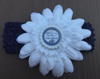 Police officer daddy hair bow. Cop parent. White flower with navy blue headband. Watch out boys.. Infant headband baby size