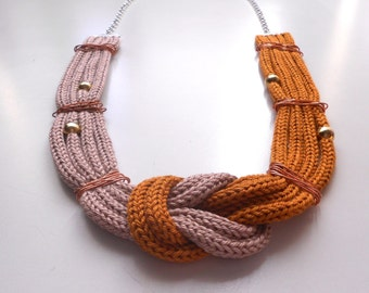 Beige and Mustard Necklace with knot and Tricot effect