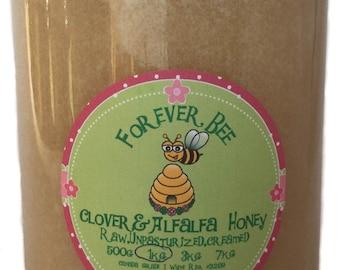 Raw, Creamed Clover honey in a glass jar - 1kg