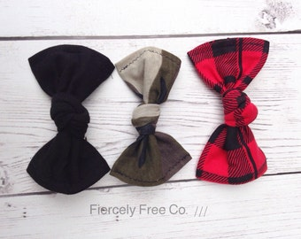 Black, Camo, Red and Black Plaid Barrette Set, Kid's Baby Girl's Barrettes, Hair Clips