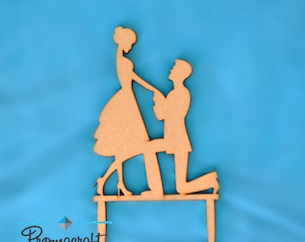Wedding cake topper, bride and groom