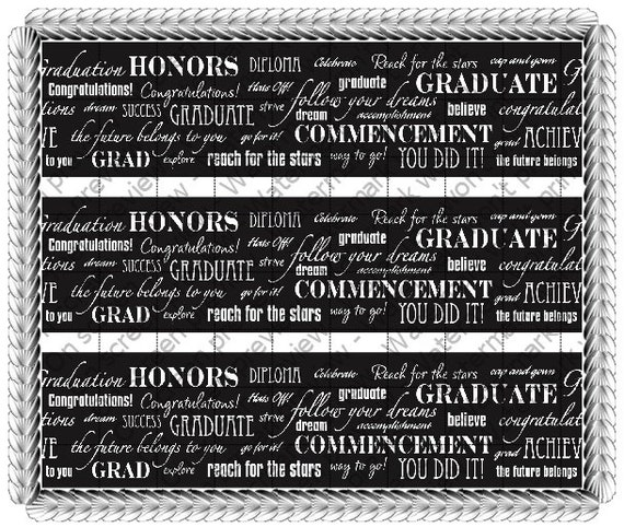 Graduation Celebration - Designer Strips - Edible Cake Side Toppers- Decorate The Sides of Your Cake! - D288