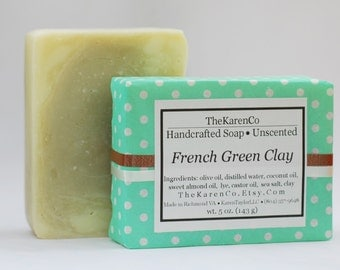 Green Clay Soap, Unscented Soap, Face Soap, French Green Clay, All Natural Soap, Handmade Soap, Green Clay