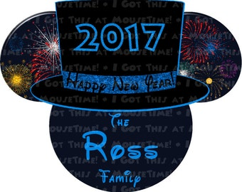 IRON-ON New Year's Eve Top Hat Ears - 5 COLOR Options! - Mouse Ears Tshirt Transfer