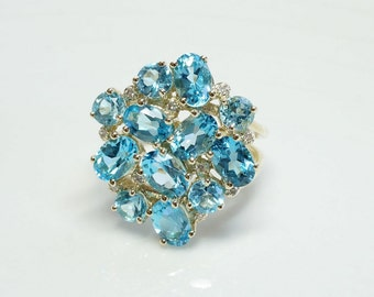 Blue Topaz ring-Organic Ring-Gold ring-Anniversary ring-Natural blue topaz-Gold Statement Ring-Blue topaz engagement ring-Art deco ring