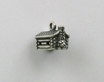 925 Sterling Silver Log Cabin Charm, Houses & Country Theme - fhg277