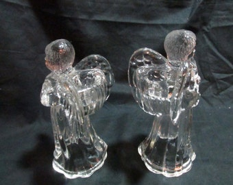Glass angels  figurine playing instruments harp and horn