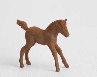 Vintage Flocked Little Brown Colt, Fuzzy Horse Figurine
