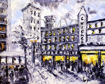 Original oil painting on canvas.  Without   frame(canvas sheet).  Old CHICAGO. Chicago Theater, Night