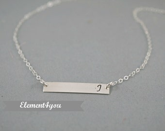 Silver Bar Necklace, Personalized Name Bar Necklace / Delicate, Personalized OR Blank Bar Necklace, Sterling Silver Bar Jewelry