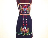 60s 70s Mexican Embroidered Summer Dress Smocked Tank Top Blue, Colorful Design Sleeveless S M Small Medium