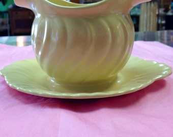 California Pottery yellow/green gravy bowl with attached under plate c 1940's!