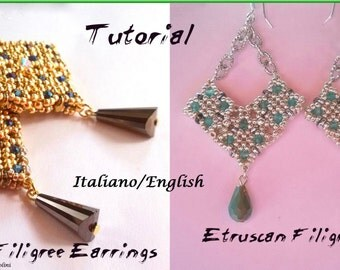 Etruscan Filigree Earrings 1 and 2 (Tutorial graphics images and photos step by step in Italian or English)