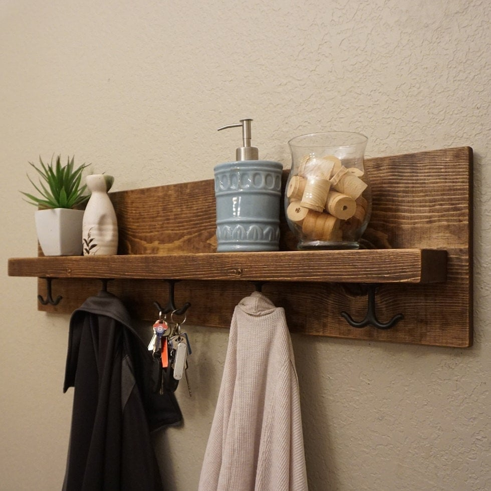 modern rustic entryway coat rack with floating shelf and. Black Bedroom Furniture Sets. Home Design Ideas