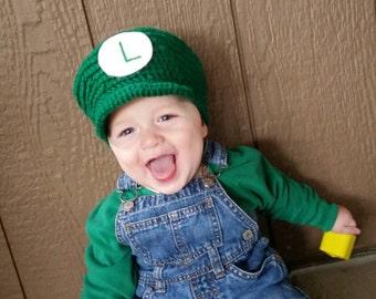 Crochet Character Hat, Plumber Hat, Video Game Hat, Plumber Character, Video Game Character, Character Hat