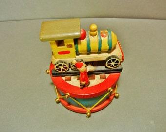 Vintage Santa wood music box, Christmas wood music box, train figural music box, Christmas train figural music box, vintage Santa music box