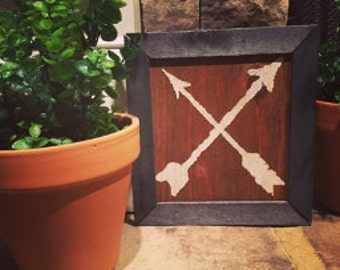 Hand Painted Double Arrows on Wood