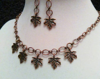 Copper leaf jewelry set, leaf necklace, maple leaf, copper leaf jewelry, copper leaf set, autumn jewelry, copper jewelry