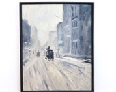 ON HOLD Acrylic Framed Original Painting, New York in the Snow, Horse Carriage in the Snow, Gray Blue Art, Mid Century, Vintage Art, Moody R