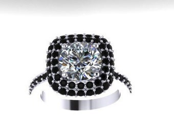 Black Diamond Halo Engagement Ring Moissonite Engagement Ring 14K White Gold with F1 Moissanite Cntr Bridal Jewelry Fine Valentine's-V1076
