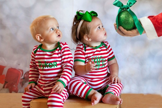 Darling baby striped Christmas pajamas