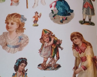 Old Time Children Vignettes in Color Decoupage Collage Supply Victorian Childrens Fashions Cut Out Book 1997