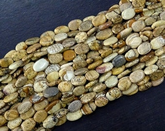 BIG Sale 30% Off Full 13 Inch X 5 Strand Picture Jasper Oval Shape Smooth Beads 7.50X11 mm Approx Gemstone Strand.